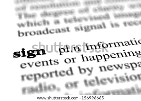 sign word from dictionary, close up - stock photo