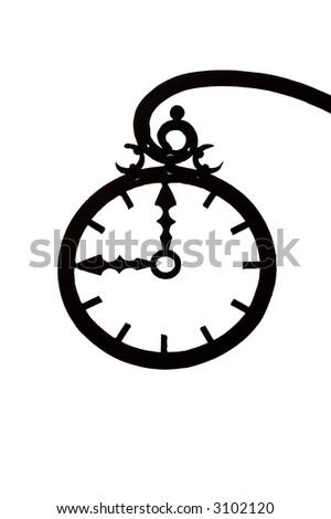 sign. Wrought-iron clock - stock photo