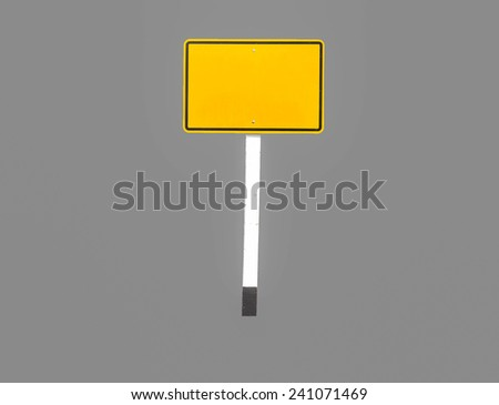 sign yellow square isolated on gray background.