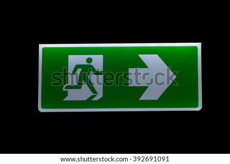 Signage Exit, fire exit,  - stock photo