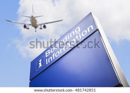 Signage for boarding information - concept image