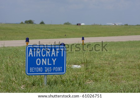 signage on airport runway