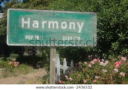 Signage: Only 18 live in Harmony - stock photo