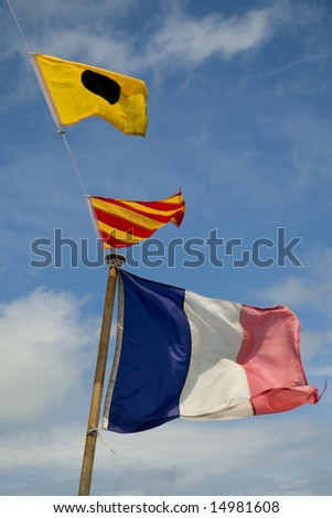 signal flags on a French boat