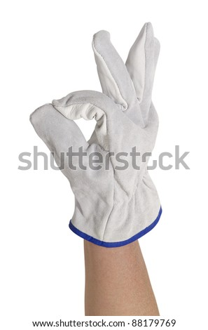 signaling hand gloved with a light grey working glove.Studio shot in white back - stock photo
