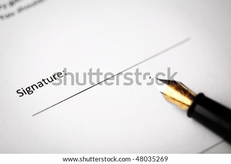 Signature part of a document - stock photo