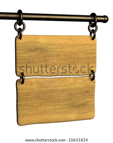 Signboard from an old board, hanging on circuits. Objects over white - stock photo