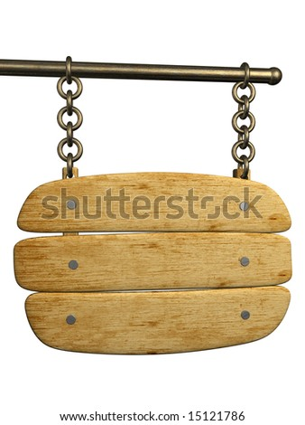 Signboard from an old boards, hanging on circuits. Objects over white - stock photo