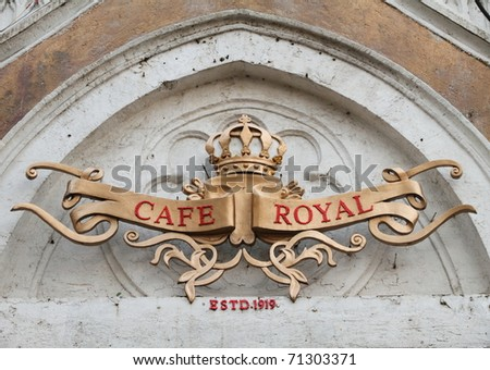 signboard of famous historic Royal Cafe in Bombay, India - stock photo