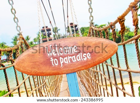 Signboard on the tropical island - stock photo