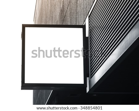 Signboard shop Mock up square shape display - stock photo