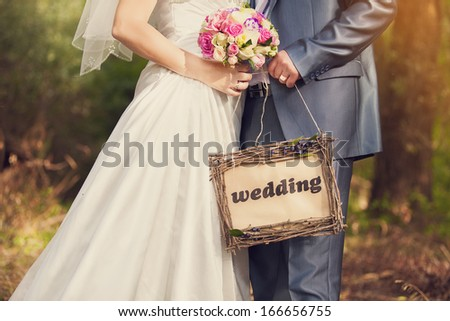 signboard wedding - stock photo