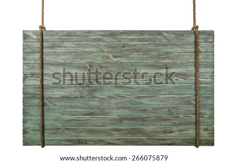 Signboard with a rope isolated on white