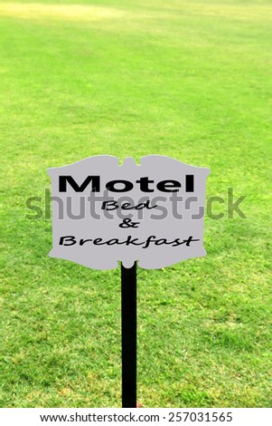 Signboard with text Motel, Bed and Breakfast - stock photo