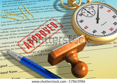 Signed contract - stock photo