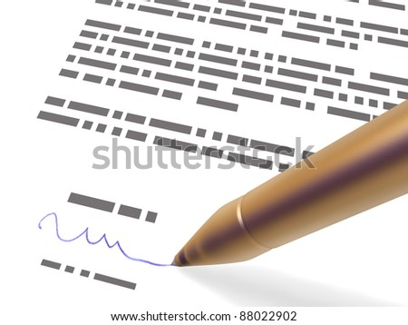 signing - stock photo