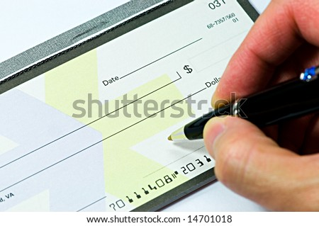Signing a blank check book