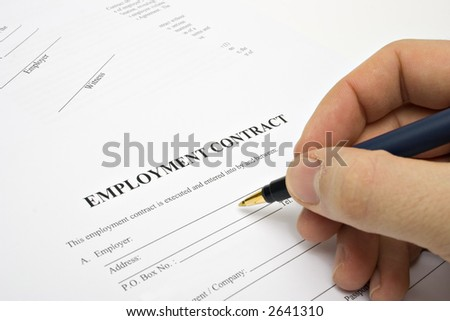 SIGNING EMPLOYMENT CONTRACT - stock photo