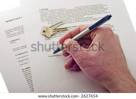 signing mortgage contract isolated on white