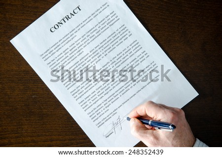 Signing of a contract, top view