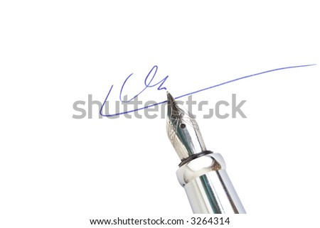 Signing on a document with a fountain pen - stock photo