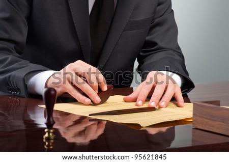 Signing testament - stock photo