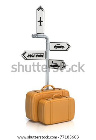 Signpost and suitcases - stock photo