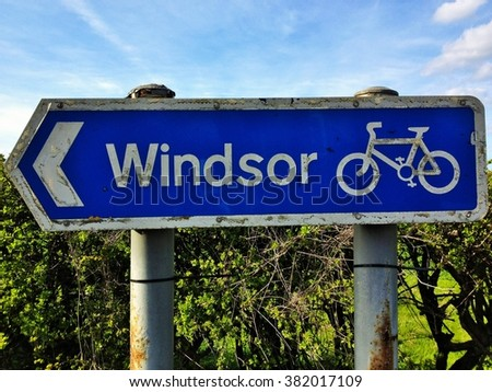 Signpost for the cycling rout to Windsor - stock photo