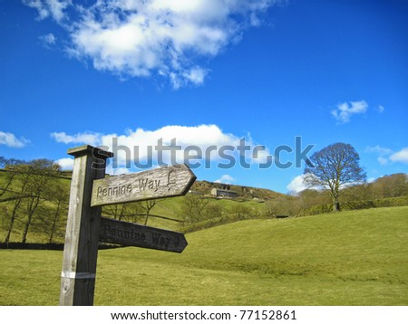 Signpost for the Pennine Way - stock photo