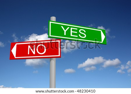 Signpost for yes and no with sky background - stock photo