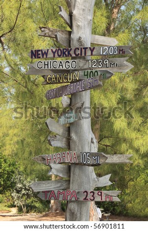 Signpost in Fort Zachary Taylor State Park, Key West, Florida - stock photo