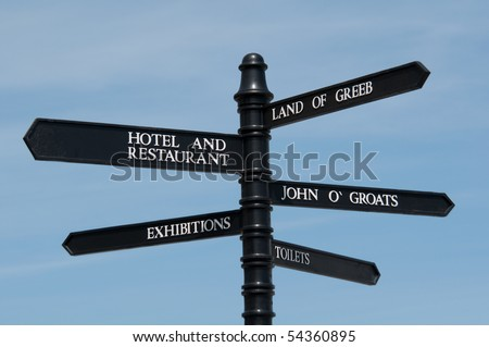 Signpost in Landsend, Cornwall - stock photo