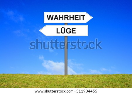 Signpost is showing Truth or false german language