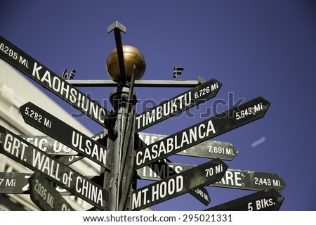 Signpost of directions to world landmarks in Pioneer Courthouse Square, Downtown Portland, Oregon, USA - stock photo