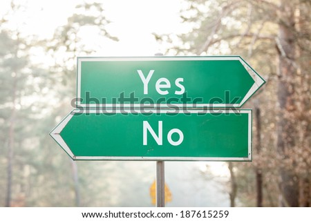 signpost on two sides - Yes or No - stock photo