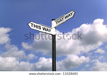 Signpost saying This Way That Way, Which way to turn good concept image for direction. - stock photo
