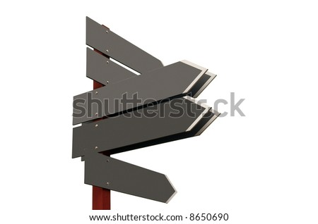 Signpost showing different directions with empty boards. Add your own text - stock photo