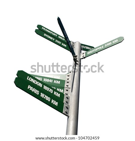 Signpost showing directions to some major cities - stock photo