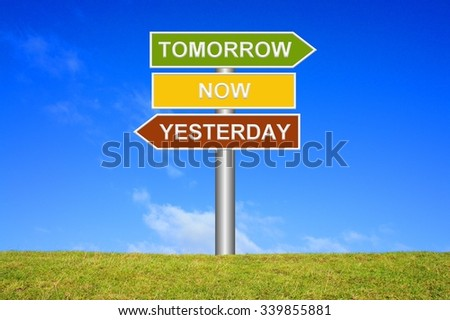 Signpost showing directions - Yesterday now tomorrow - stock photo
