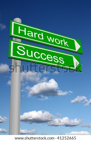 Signpost showing the way to success through hard work - stock photo