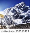 Signpost / sign of Mount Everest Base Camp - stock photo