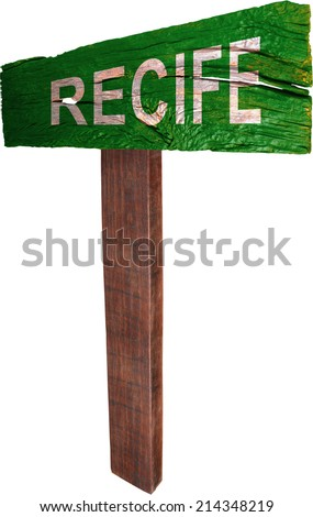 Signpost timber from Recife - stock photo