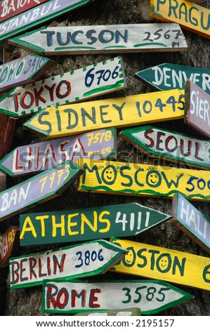 Signpost to the world - stock photo