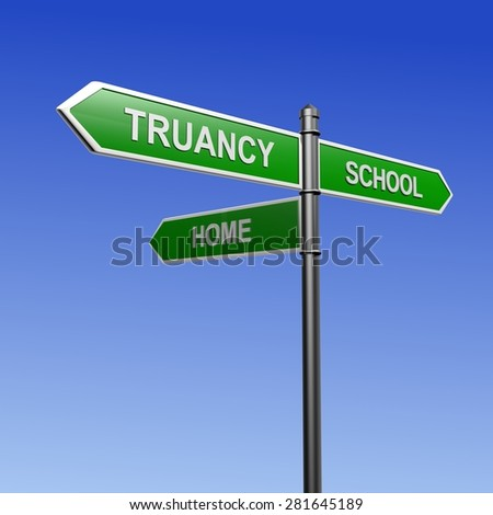 Signpost with arrows pointing three directions - towards school, truancy and home.  - stock photo