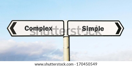 Signpost with complex or simple direction choices  - stock photo