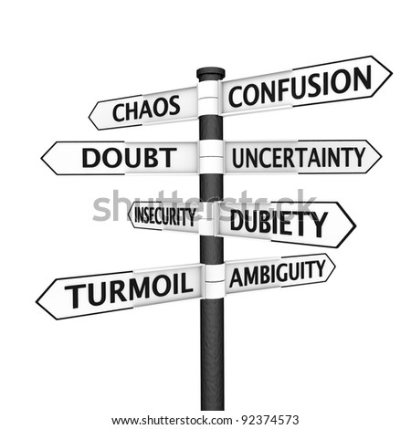 Signpost with confusion-related names pointing in every direction - stock photo