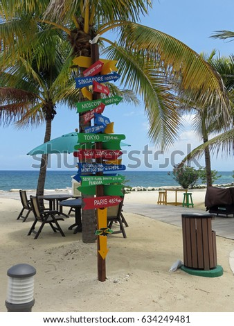 Signpost with Directions to Travel Destinations on Montego Bay Jamaica