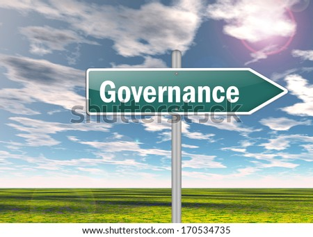Signpost with Governance wording - stock photo