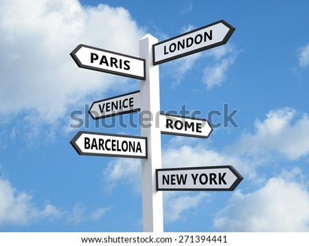Signpost with popular city destinations - stock photo