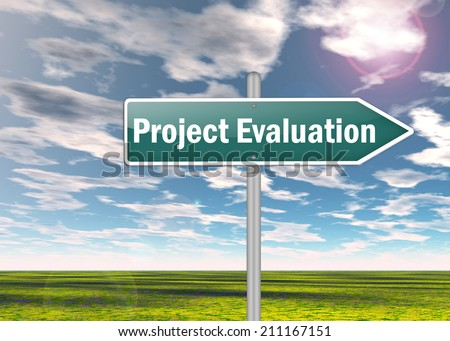 Signpost with Project Evaluation wording - stock photo